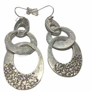 Rain hammered Silver tone dangle earrings